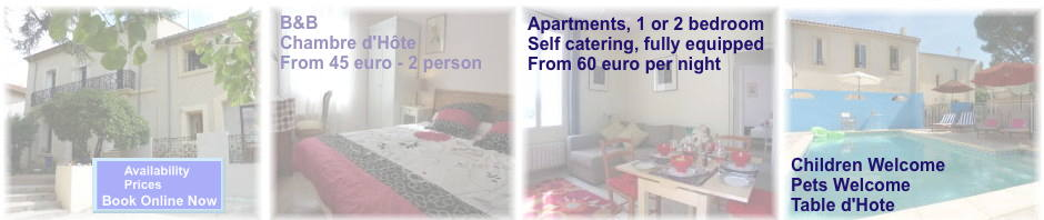 Villa Roquette Apartments and B&B bed breakfaast in languedoc the real South of France