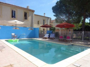 Heated swimming pool at Villa Roquette in Languedo the South of France