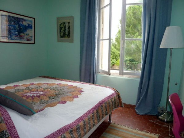 Olive bedroom in Villa Roquette, Languedoc, France