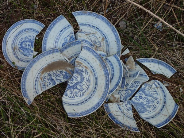 China Plates tossed into a ditch