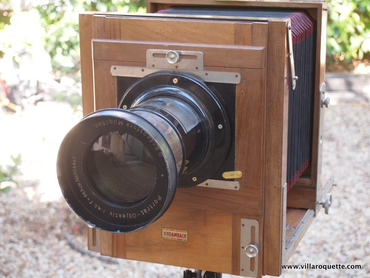 Classic 19thcentury woodandbrass camera with a very rare 385mm Rdenstick Petzval lens