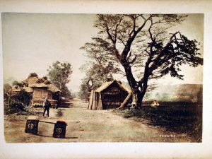 Collodion hand coloured print of Japan in the 19th century